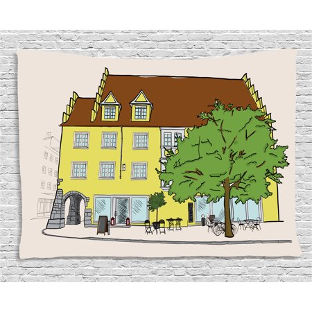 German Tapestry, Sketch of Old Building in Lindau Germany Colorful Illustration Bavarian Architecture, Wall Hanging for Bedroom Living Room Dorm Decor, 80W X 60L Inches, Multicolor, by Ambesonne