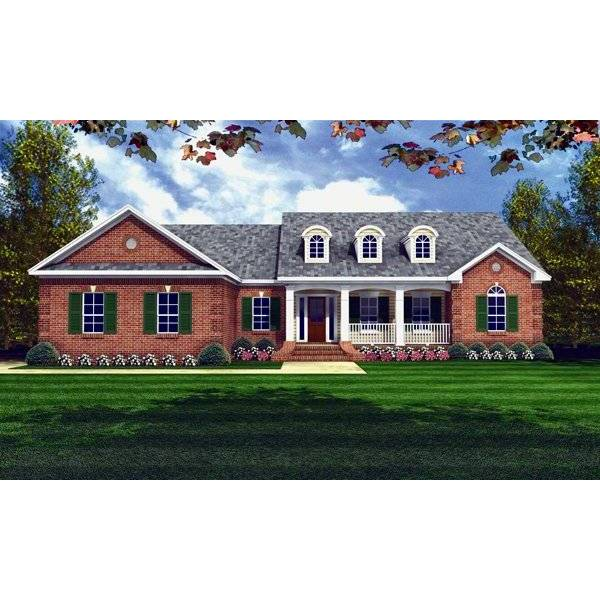TheHouseDesigners-5690 Country House Plan with Basement Foundation (5 Printed Sets)