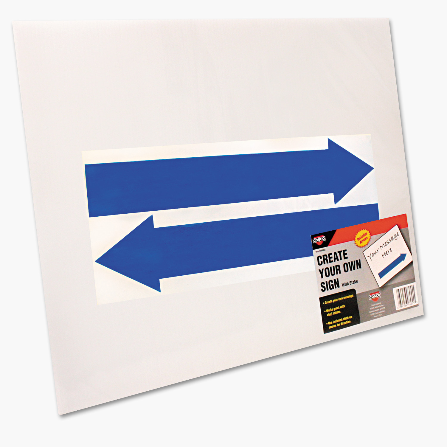 COSCO Stake Sign, Blank White, Includes Directional Arrows, 15 x 19 -COS098055
