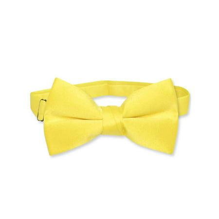 Vesuvio Napoli BOY'S BOWTIE Solid GOLDEN YELLOW Color Youth Bow Tie - Metallic Gold Bow Tie