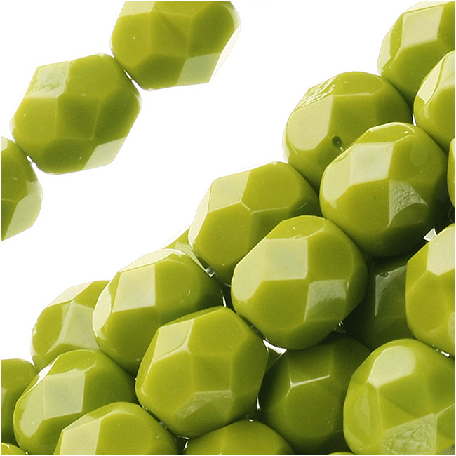 Czech Fire Polished Glass Beads 6mm Round 'Opaque Olive' (25)