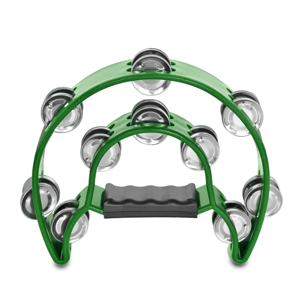 Half Moon Musical Tambourine (Green) Double Row Metal Jingles Hand Held Percussion Drum for Gift KTV Party Kids Toy with Ergonomic Handle Grip
