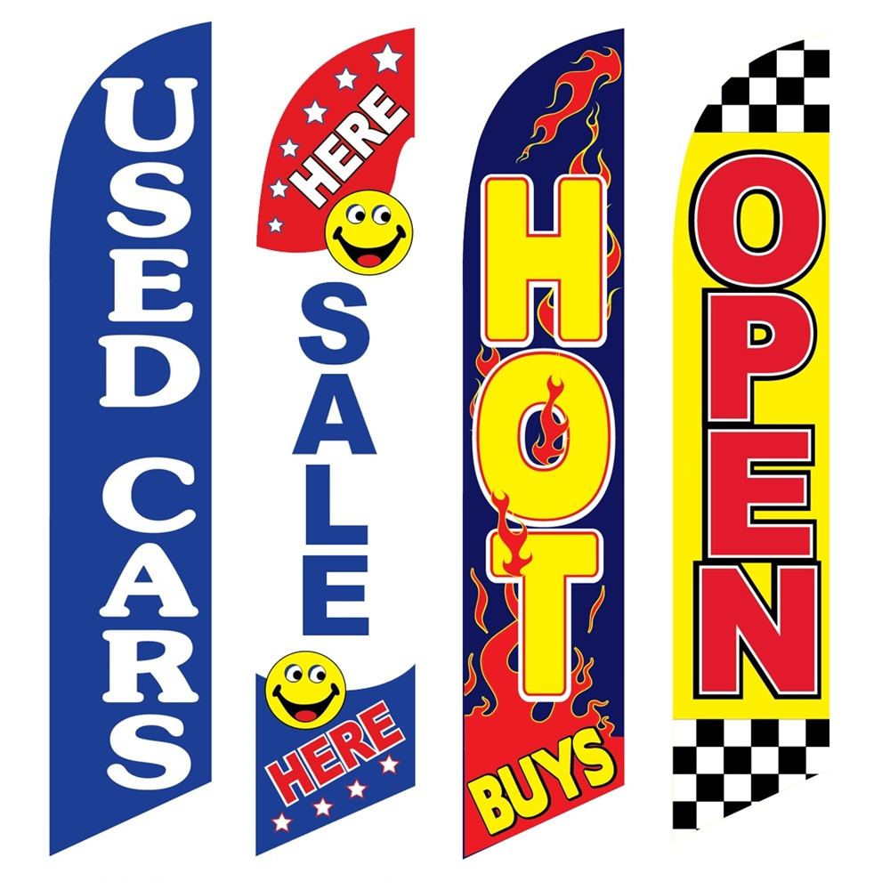 4 Advertising Swooper Flags Used Cars Sale Here Hot Buys Open