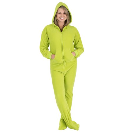 7b49091a4b28 Footed Pajamas - Footed Pajamas - Lime Green Adult Hoodie Onesie -  Walmart.com
