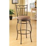 Acme Tavio Swivel Bar Chair, Set of 2, Fabric & Dark Bronze
