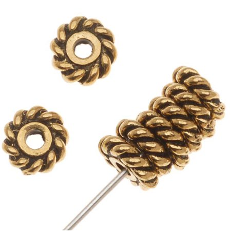 Twisted Tube Beads (22K Gold Plated Pewter Twist Edge Spacer Beads 6mm (10))