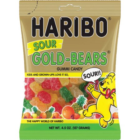 Haribo Sour Gold-Bears Gummi Candy, 4.5 oz, (Pack of 6)