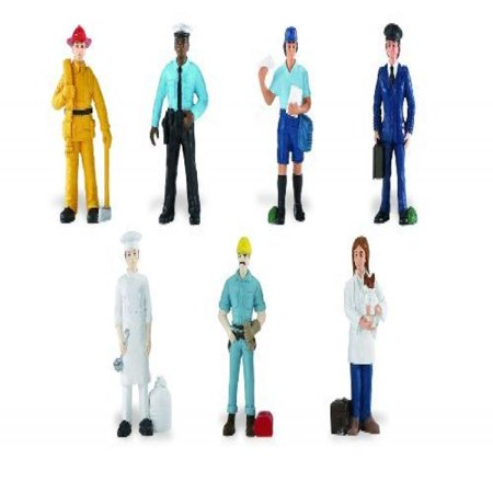 Safari Ltd People TOOB With 7 Everyday Heroes Figurine Toys Including Construction Worker Policeman