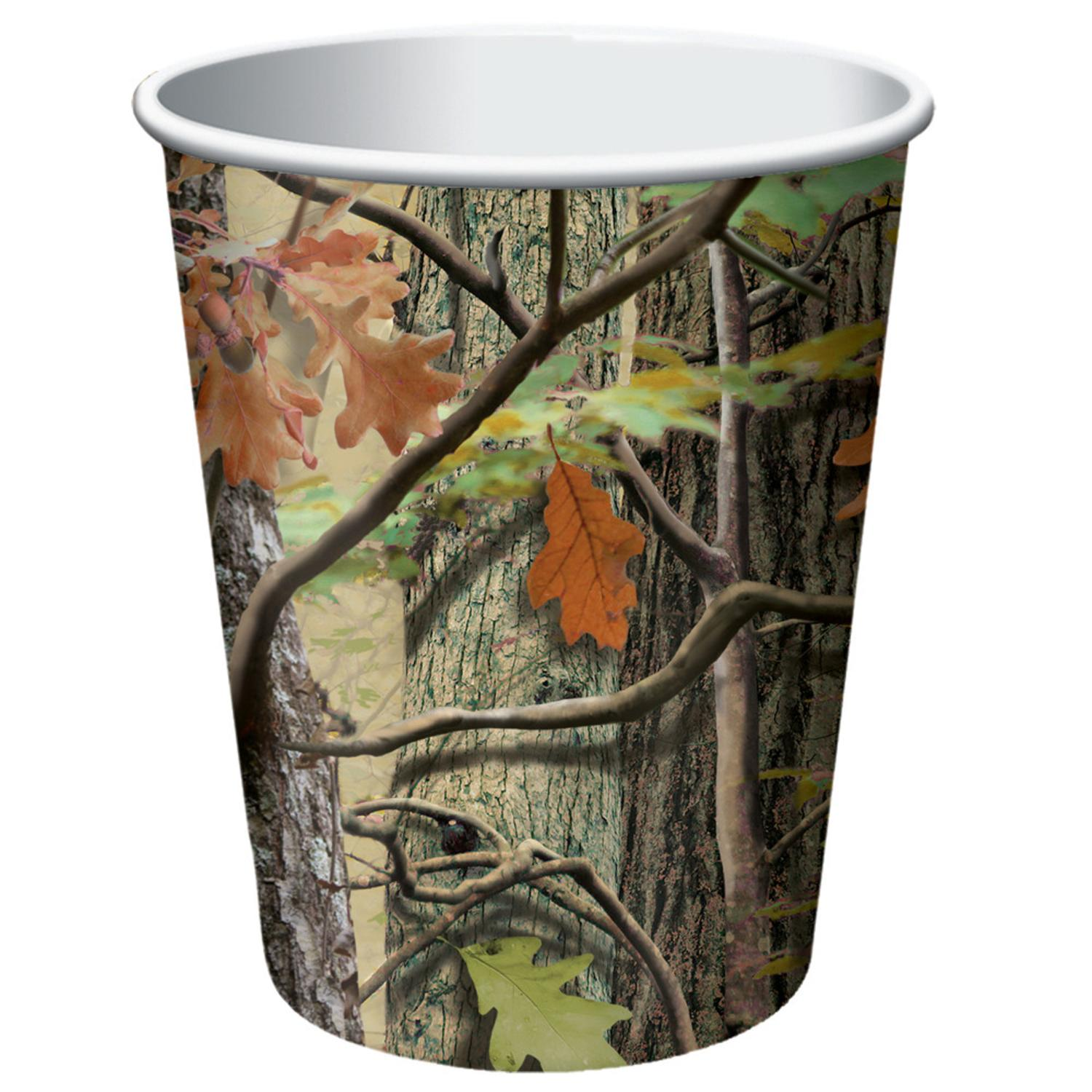 Club Pack of 96 Hunting Camo Disposable Paper Hot and Cold Drinking Party Cups 9 oz.