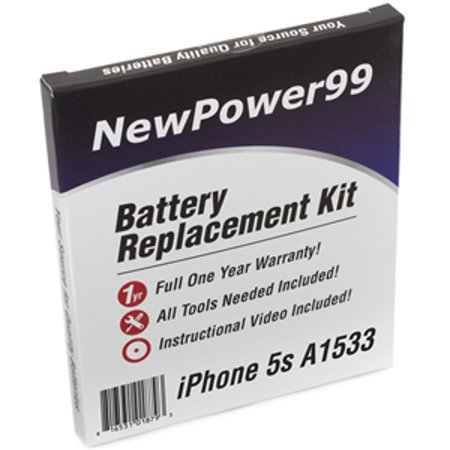 Apple iPhone 5s A1533 Battery Replacement Kit with Tools, Video Instructions, Extended Life Battery and Full One Year (Iphone 5 Wont Turn On After Battery Replacement)