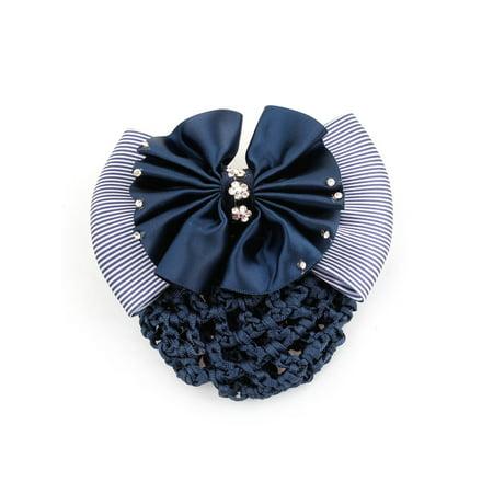 Unique Bargains Woman Bowtie Rhinestones Flower Detail Hairnet Snood Net Hair Clip Navy Blue