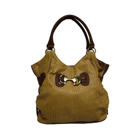 Donna Bella  'Jordana' Shopper-style Tan Faux Leather Tote -