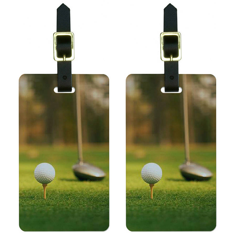 Graphics and More Golf Ball Club Golfing Luggage Tags Suitcase Carry-On ID, Set of 2