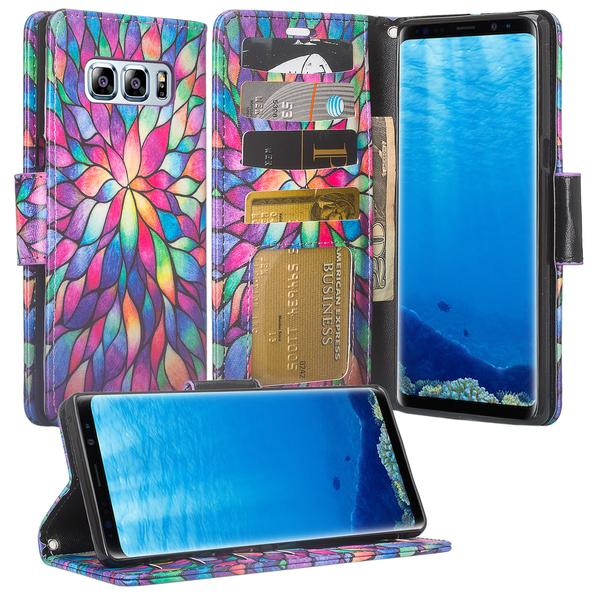 Galaxy Note 8 Case, Samsung Galaxy Note 8 Wallet Case, Flip Folio [Kickstand] Pu Leather Wallet Case with ID & Card Slots & Pocket + Wrist Strap for Galaxy Note 8 - Rainbow Flower