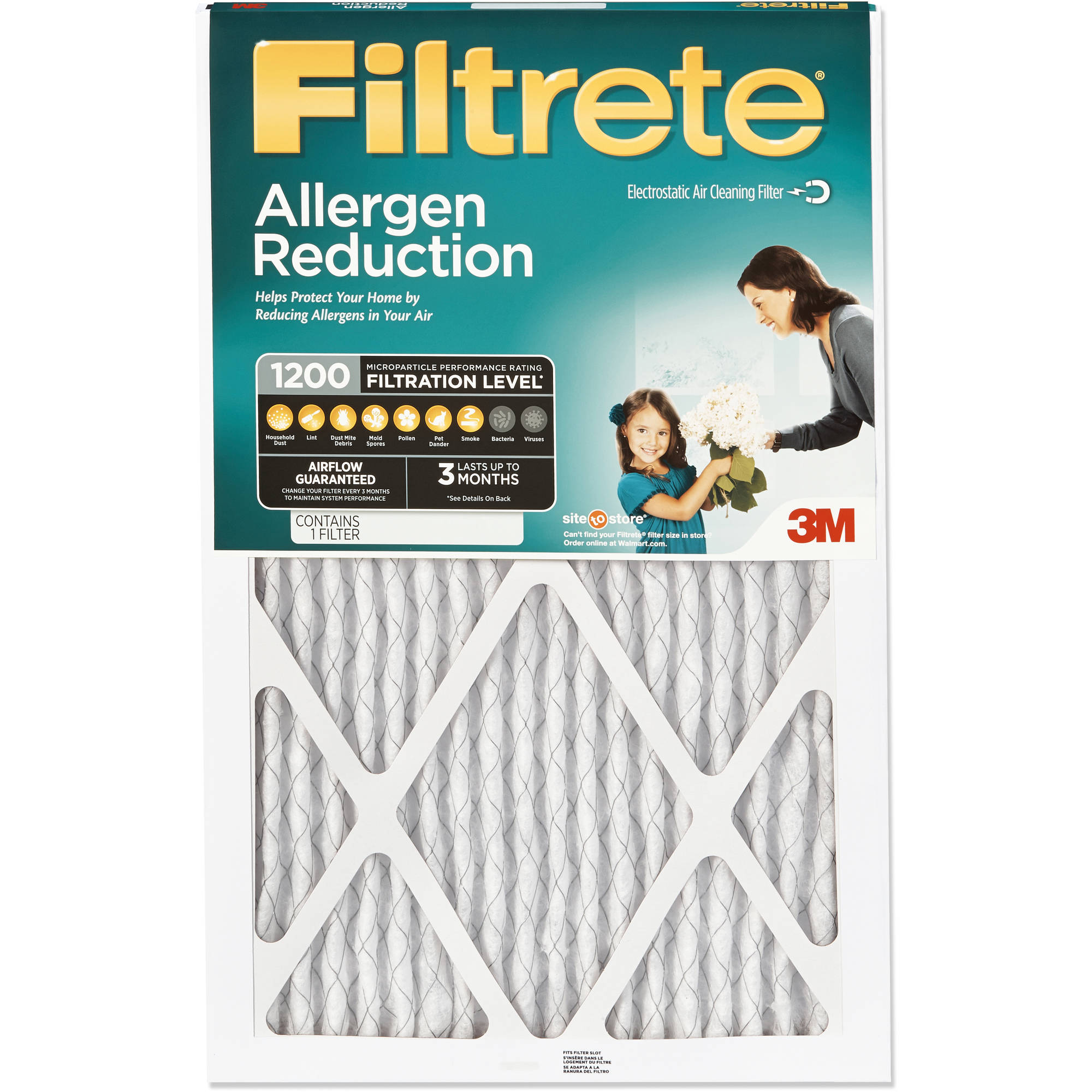 Filtrete Allergen Reduction Air and Furnace Filter, 1200 MPR, Available in Multiple Sizes, 1pk