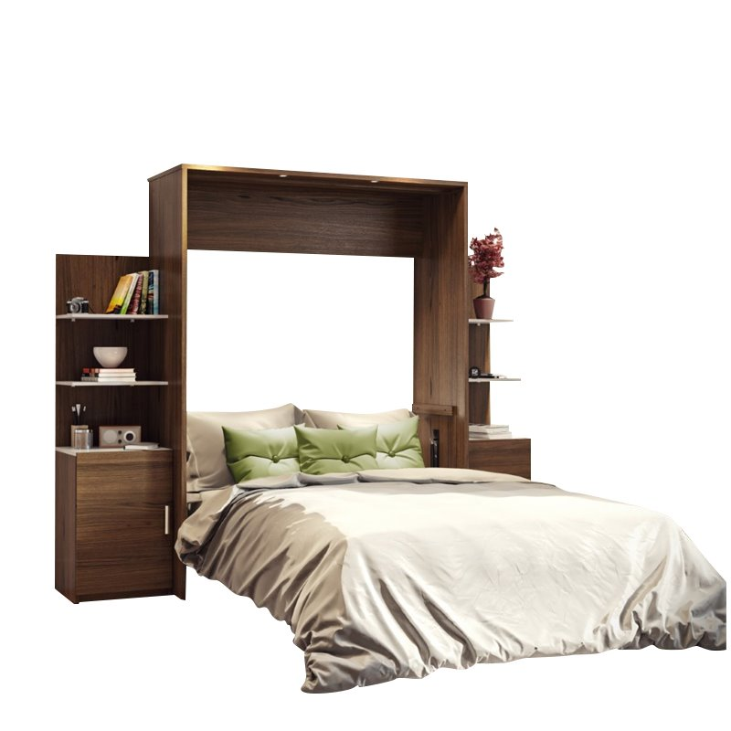"""Atlin Designs 104"""" Queen Wall Bed Kit in Oak Barrel and White"""
