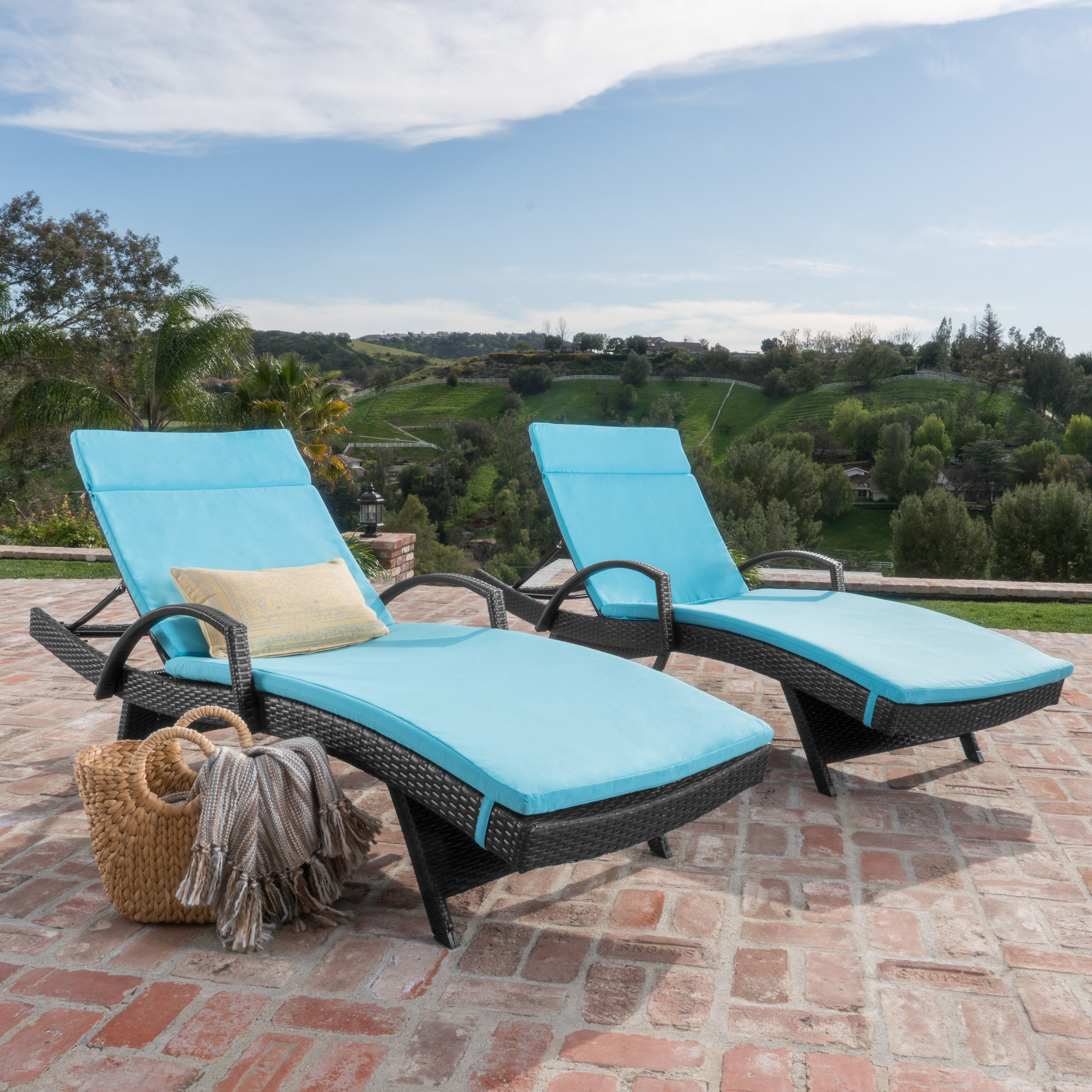 Soleil Outdoor Wicker Arm Chaise Lounges with Blue Water Resistant Cushions, Set of 2, Grey by GDF Studio