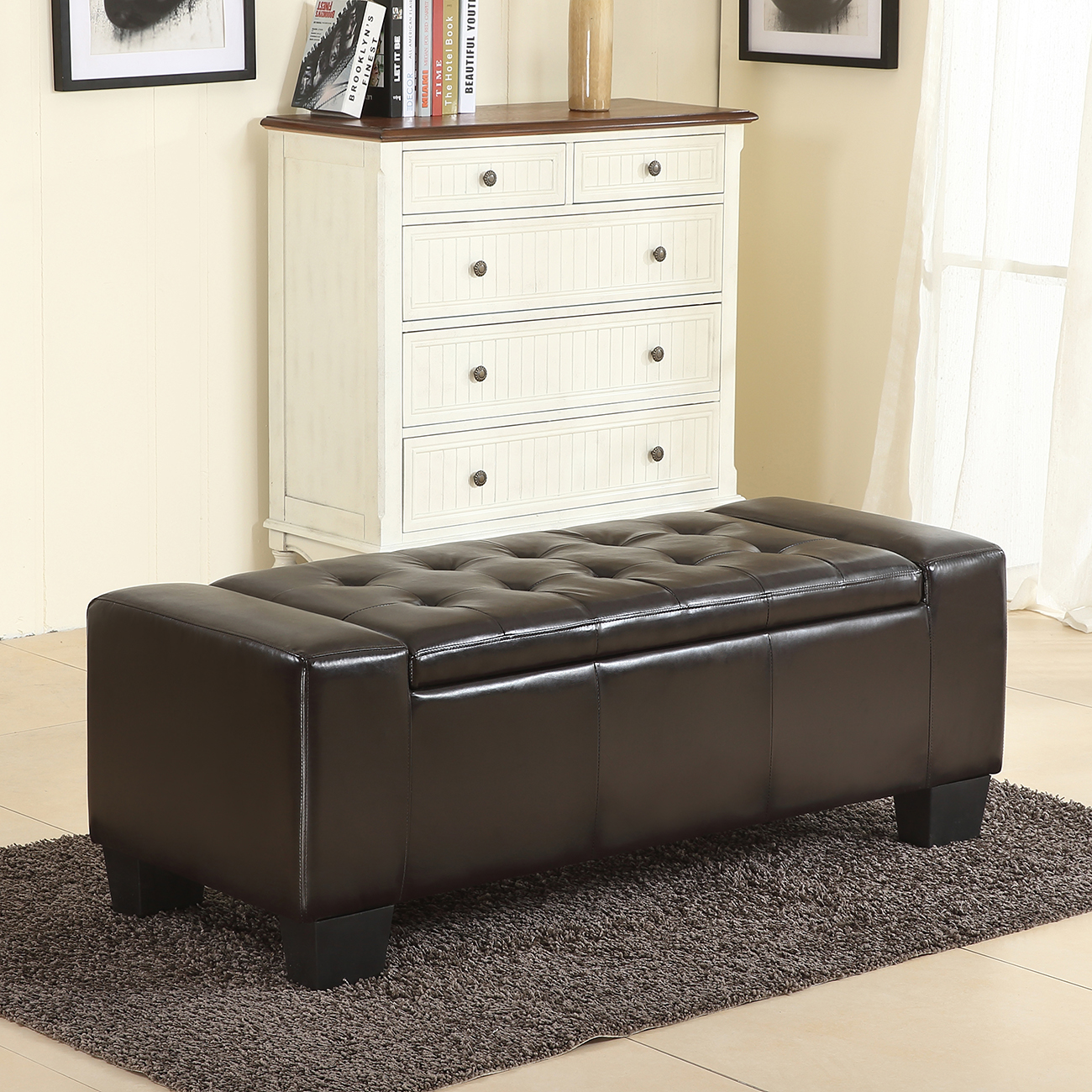 "Belleze 51""-inch Storage Ottoman Bench Brown Faux Leather Rectangular Tufted Large"
