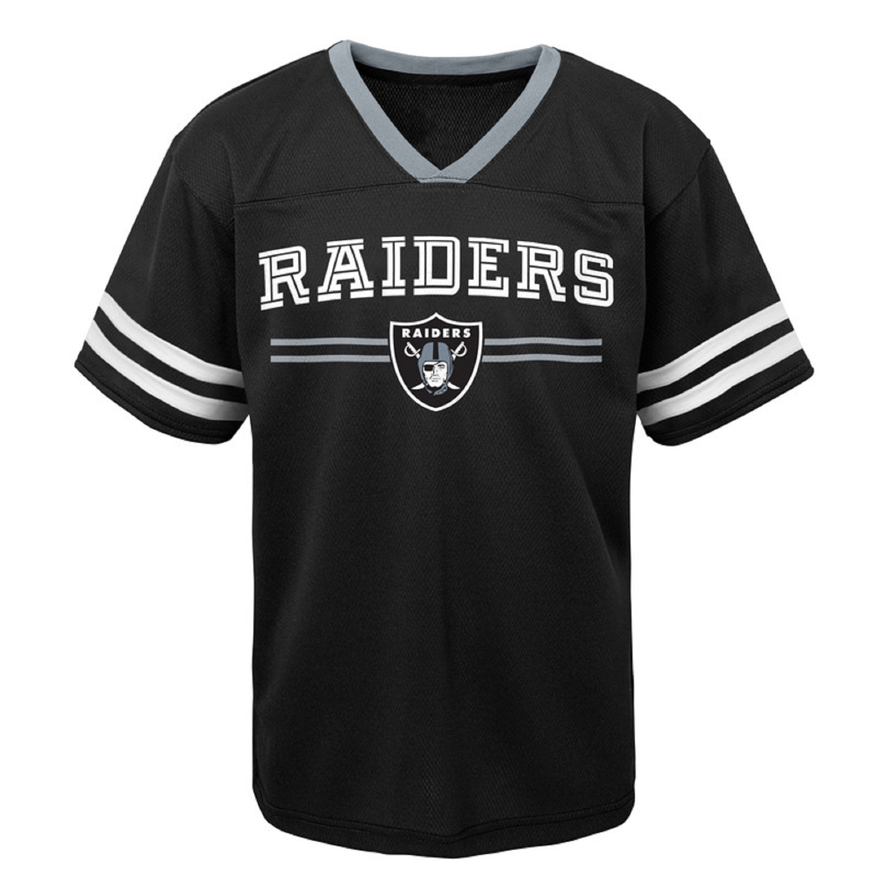 Youth Black Oakland Raiders Mesh V-Neck T-Shirt