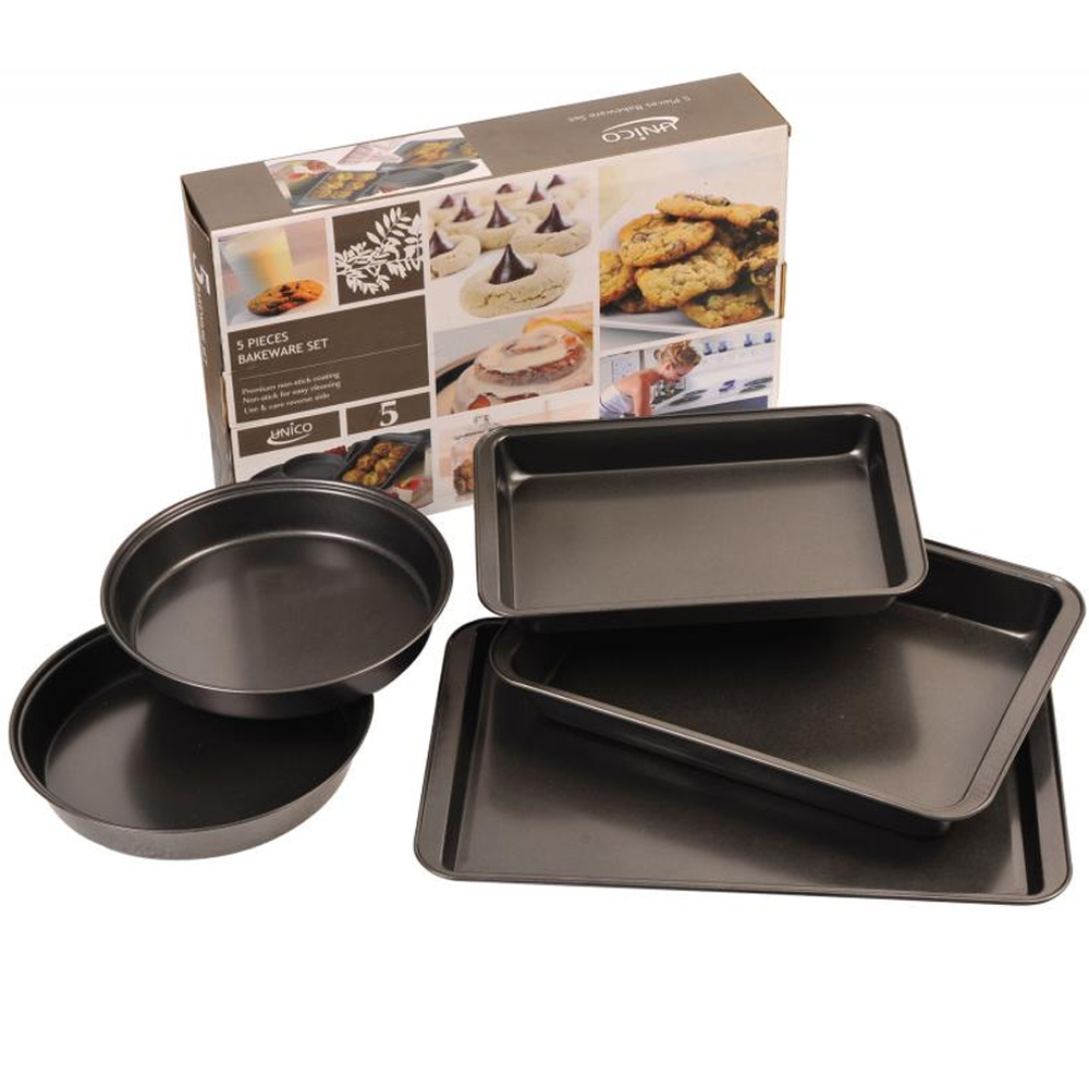 5 pc Nonstick Bakeware Set Cooking Pans Cookie SHeet Round Cake Bake Oven Roast by DURA KLEEN