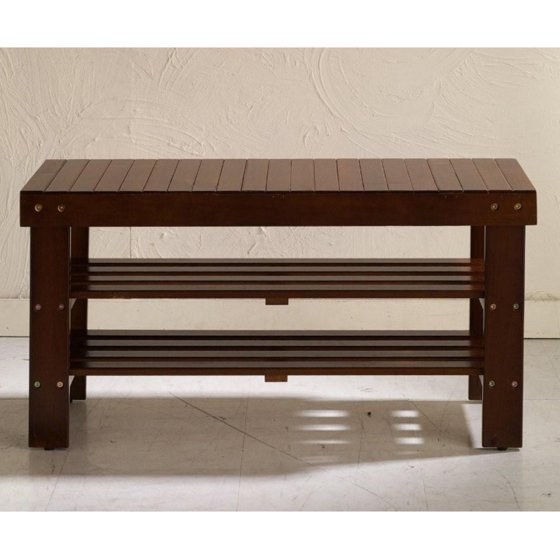 Roundhill Pina Quality Solid Wood Shoe Bench, Multiple