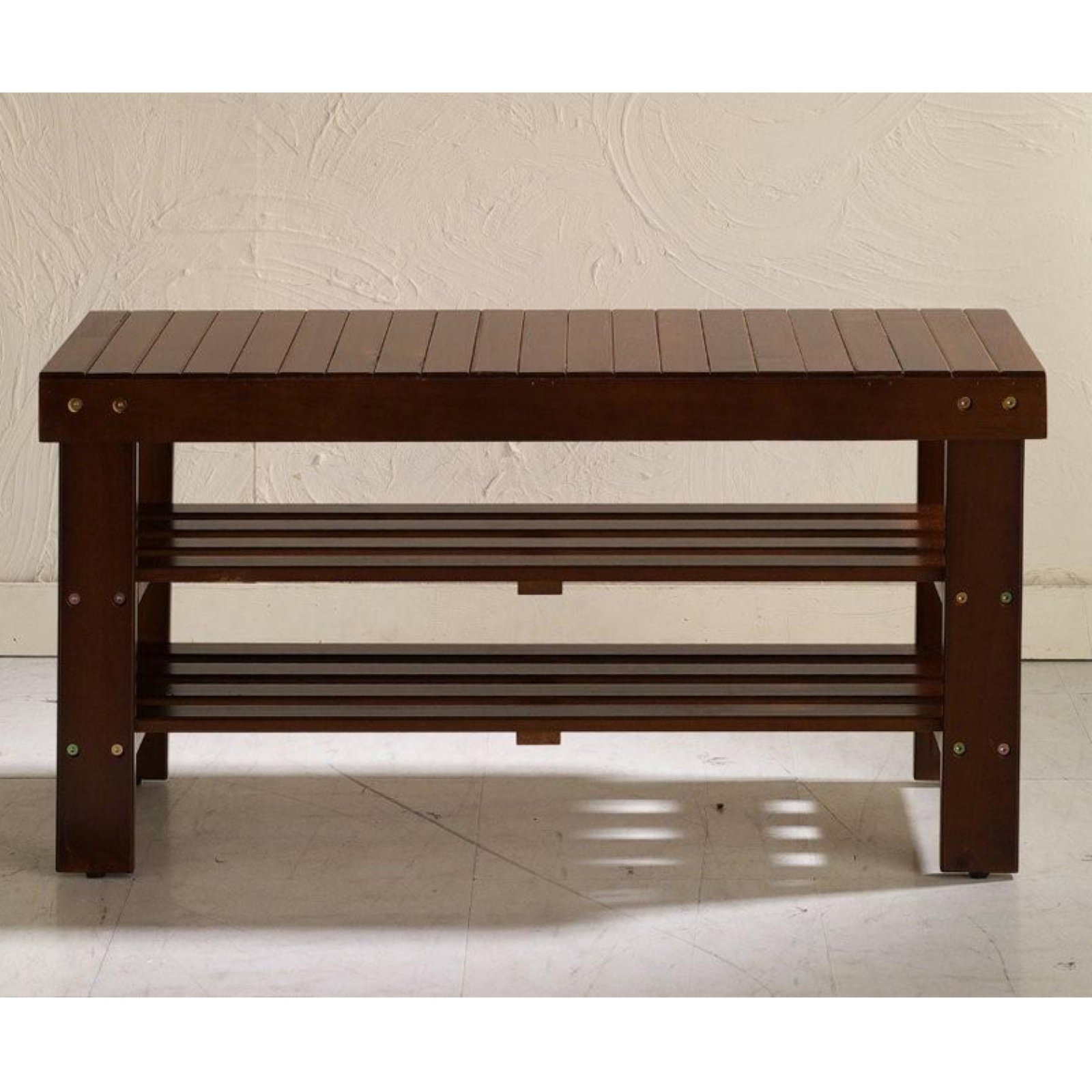 Roundhill Pina Quality Solid Wood Shoe Bench, Multiple Colors Available