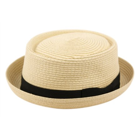 544d9c78a8998 Epoch Hats - Men s Summer Lightweight Straw Pork Pie Derby Fedora Upturn  Brim Hat w  Ribbon - Walmart.com