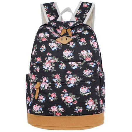 School Backpack  Coofit Flower Printed Canvas Casual Backpack Laptop Backpack Travel Backpack For Women Girls