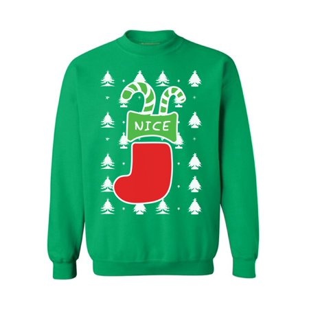 Christmas Outfits For Men (Awkward Styles Nice Christmas Stocking Sweatshirt Funny Naughty or Nice Christmas Stocking Sweater Xmas Stockings Couples Christmas Sweater Xmas Party Outfit Ugly Christmas Sweater for Women and)