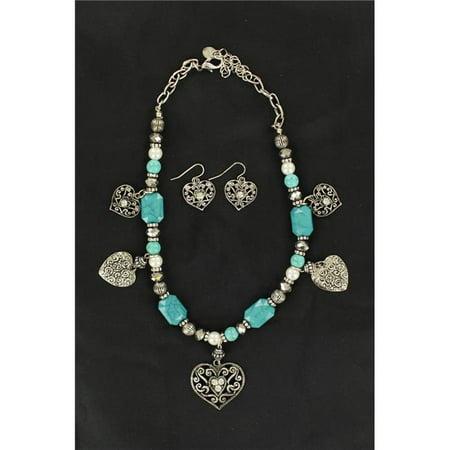 Blazin Roxx 30228 Multi Hearts Necklace & Earrings Set, Turquoise & Pearl - 15 to 19 in. ()