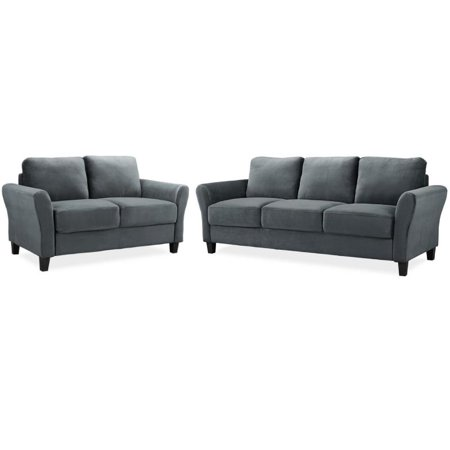 Awe Inspiring Lifestyle Solutions Transitional 2 Piece Sofa And Loveseat Set In Dark Gray Gmtry Best Dining Table And Chair Ideas Images Gmtryco