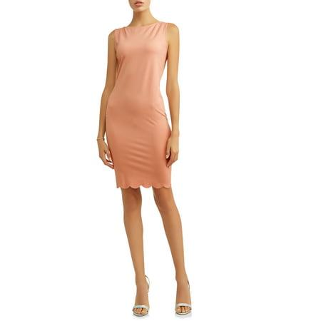 Zip Detail Sheath Dress - TIANA B Women's Sheath Dress with Scalloped Hem