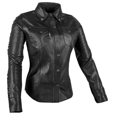 Speed & Strength Black Heart Womens Long Sleeve Leather Shirt (Leather Womens Shirt)