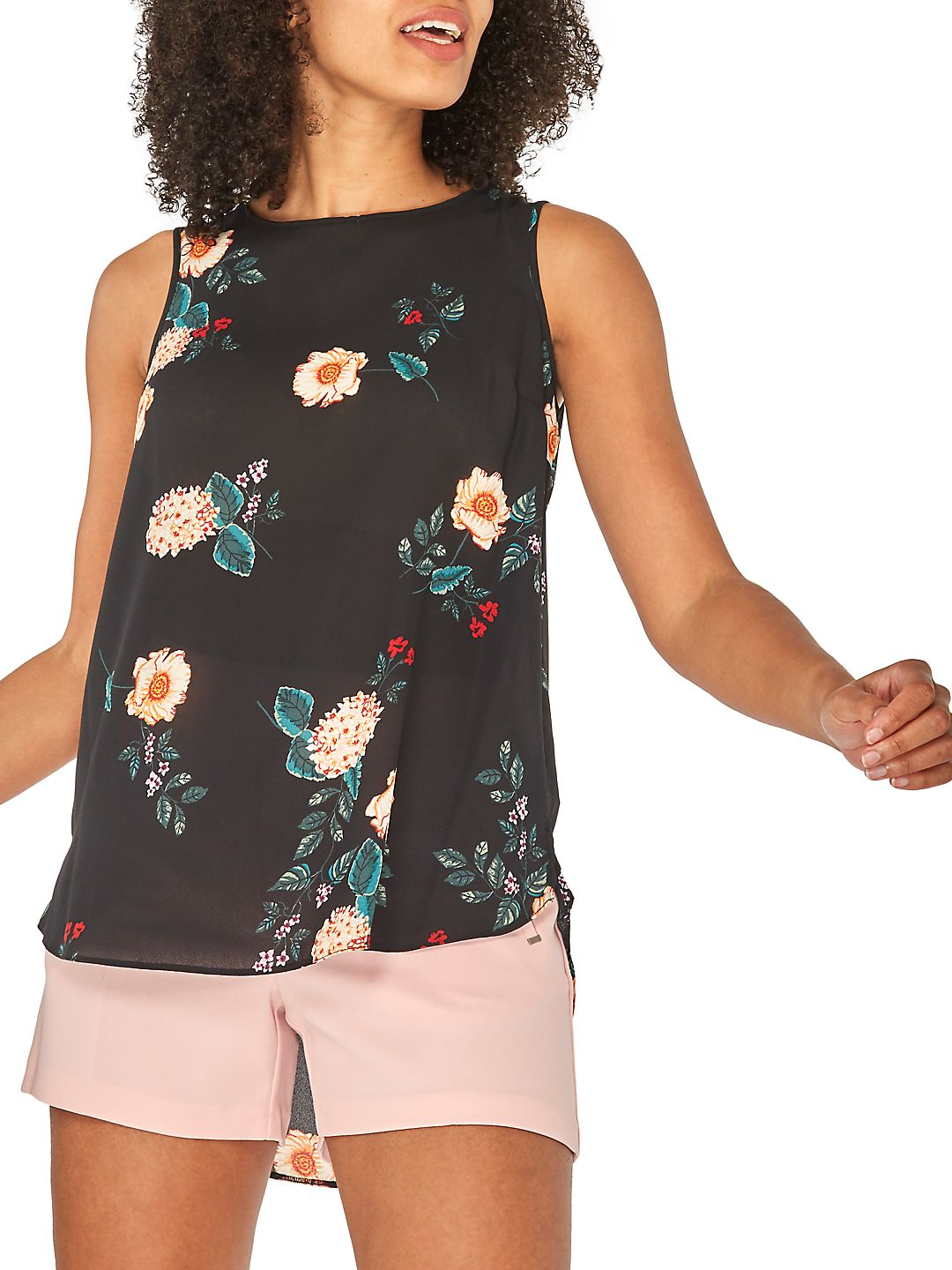 Floral High-Low Sleeveless Top