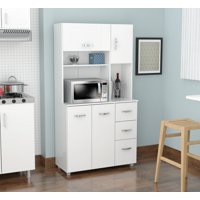 Inval 4-door Laminate Microwave Kitchen Cabinet, Laricina-white