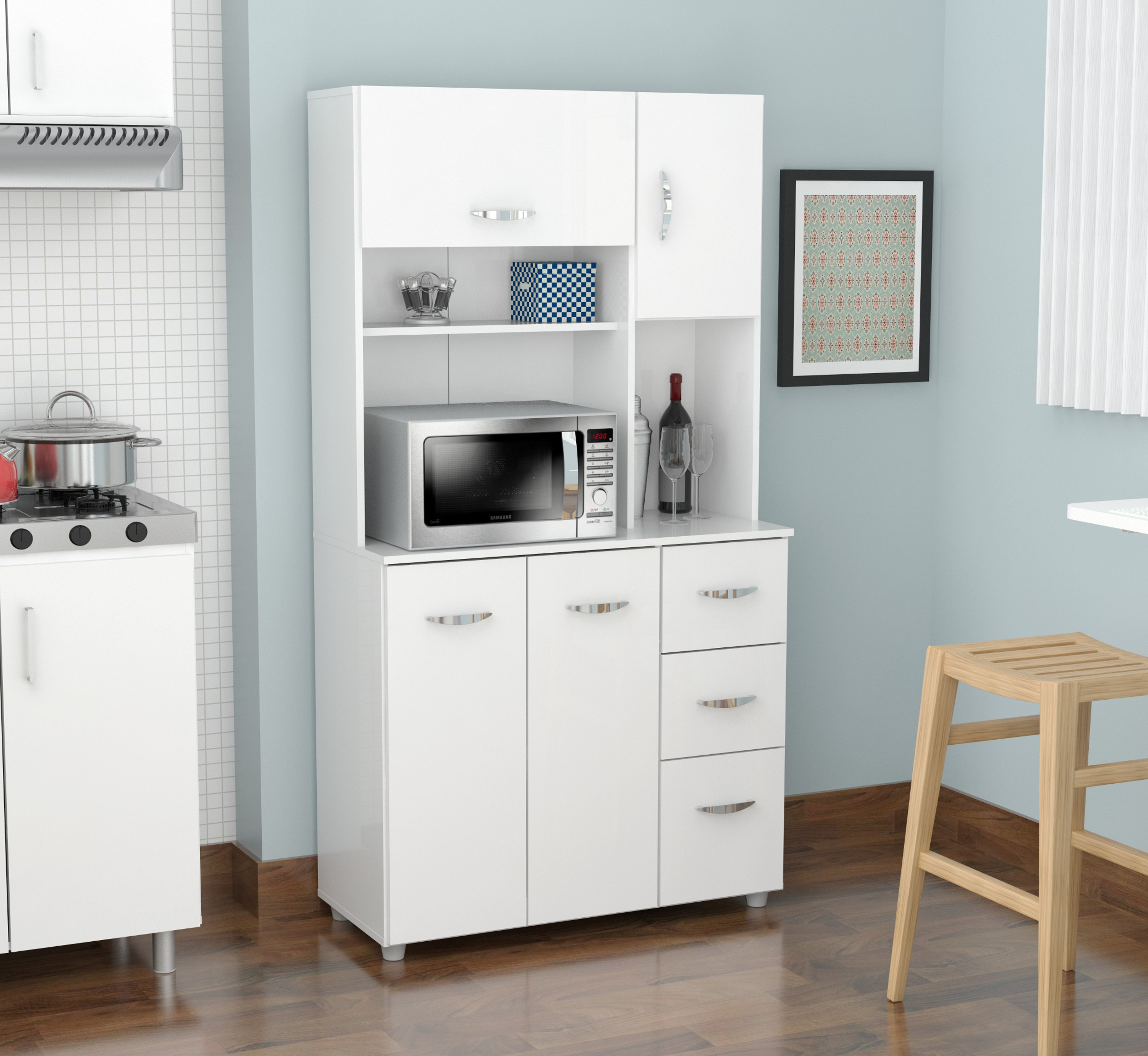 Etonnant Inval Modern Laricina White Kitchen Storage Cabinet