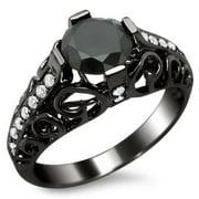 Noori Collection Noori 14k Black Gold 1 4/5ct TDW Certified Black/ White Round-cut Diamond Engagement Ring