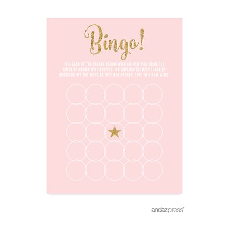 Signature Blush Pink, White, Gold Glittering Party Collection, Bingo Game Activity Cards, 20-Pack