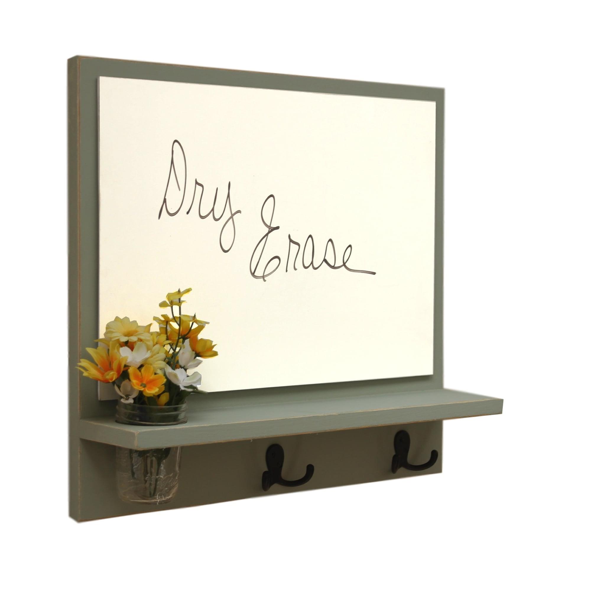 Message Board with Whiteboard, Coat Hooks & Mason Jar