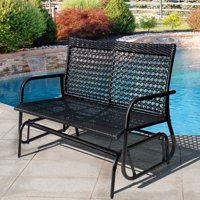Product Image Sundale Outdoor 2 Person Wicker Loveseat Glider Bench Chair Patio Porch Swing With Rocker Black