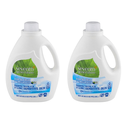 (2 pack) Seventh Generation Free & Clear Natural Laundry Detergent, 100.0 FL (Best Natural Baby Laundry Detergent)