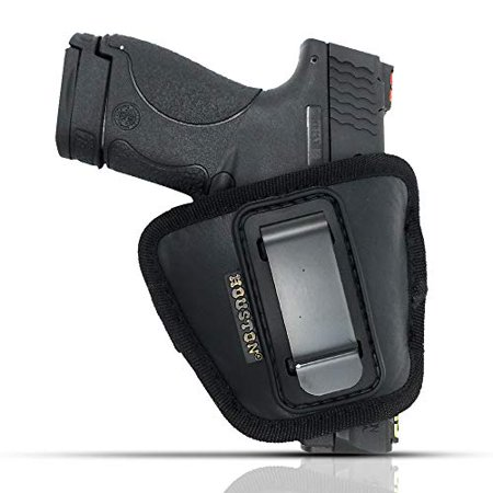 IWB and Outside Gun Holster by Houston - ECO Leather Concealed Carry Soft Material | Fits Glock 26/27/33, Shield, XDS, Taurus 709, Taurus Pro C, Walther P22, Beretta Nano, SCCY Sky.Ruger (Best Suppressor For Walther P22)