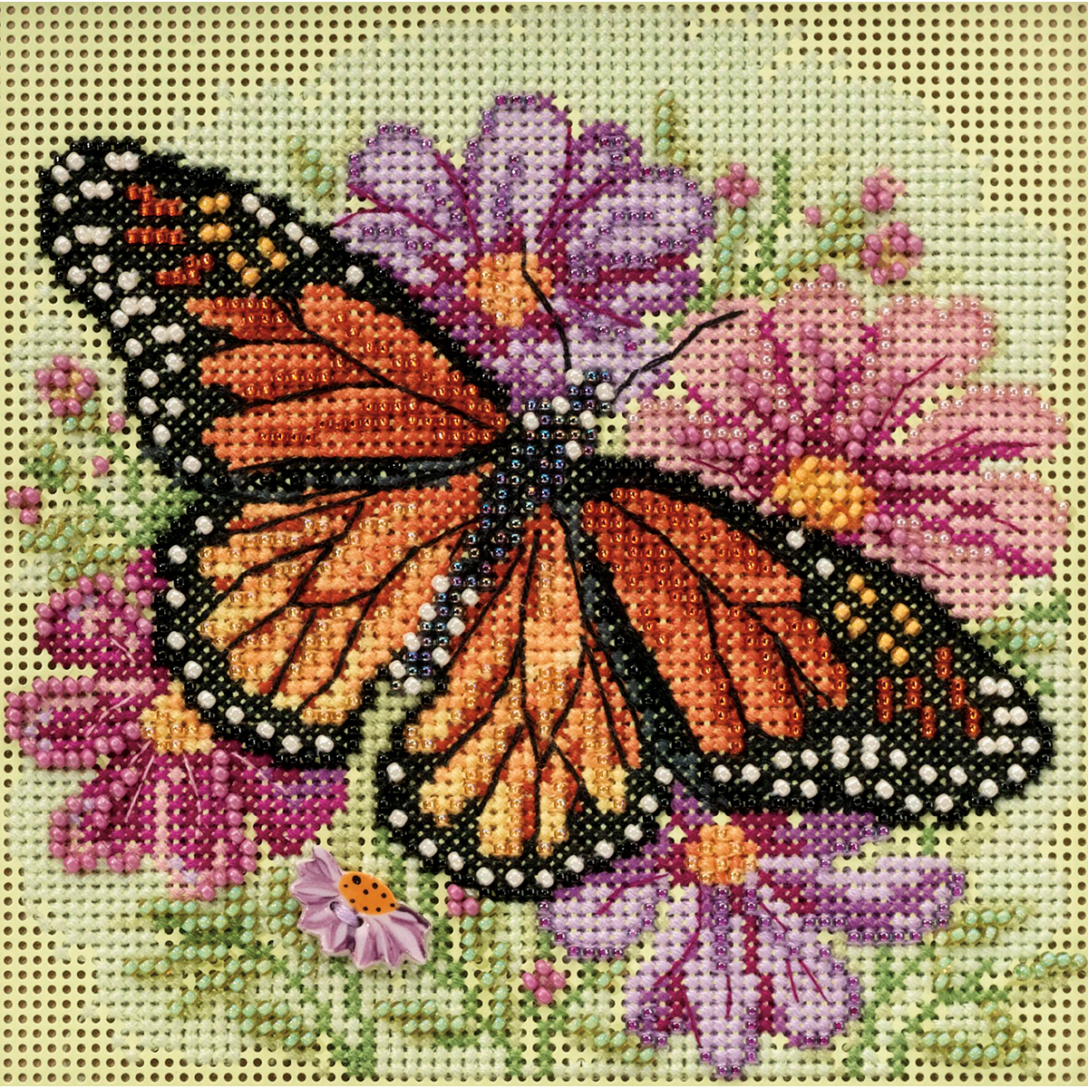 """Winged Monarch Spring Buttons & Beads Counted Cross Stitch K-5""""X5"""" 14 Count"""