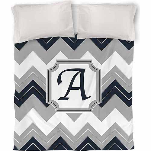 IDG Chevron Monogram Duvet Cover, Blue