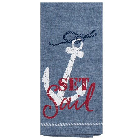 Set Sail Anchor Nautical Blue Red and White Kitchen Dish Tea Towel ()