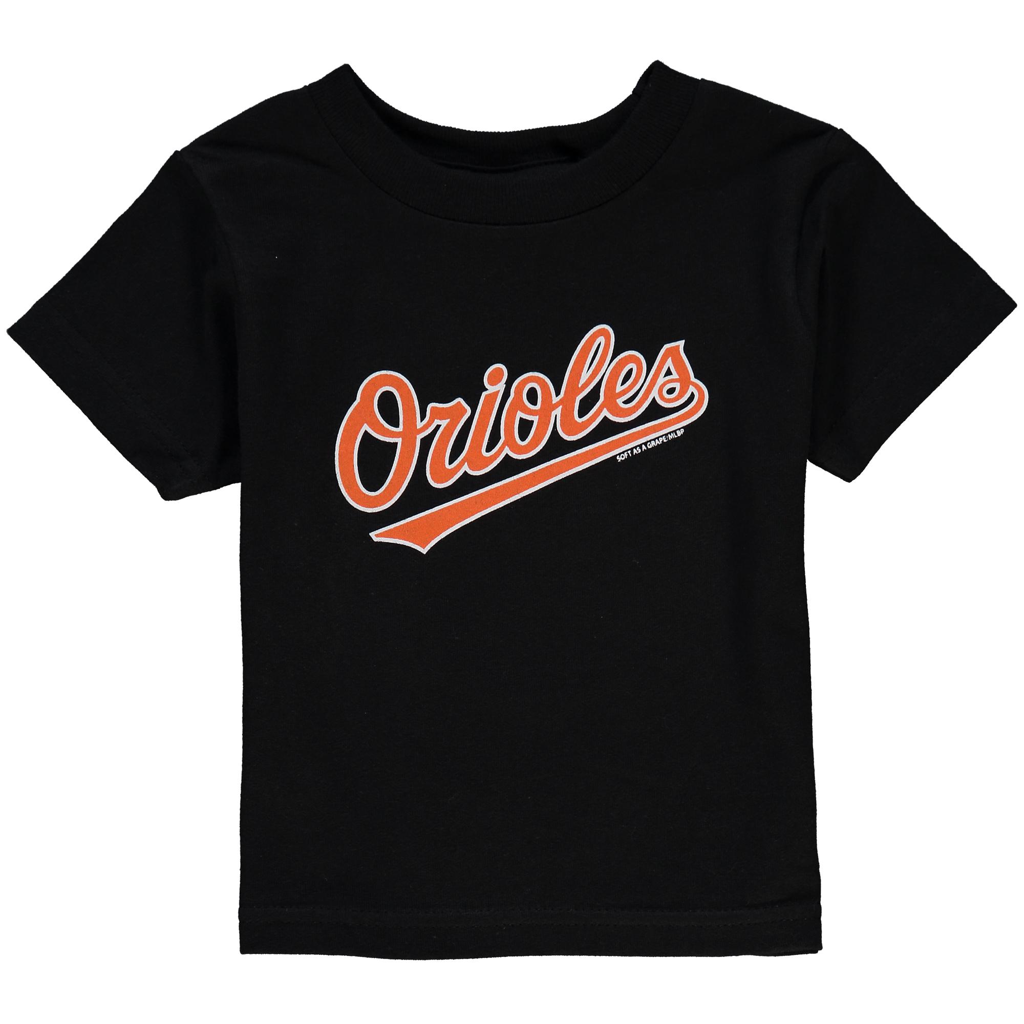 Infant Soft as a Grape Black Baltimore Orioles Wordmark T-Shirt