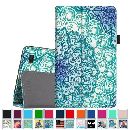 (Fintie Folio Case for All-New Amazon Fire 7 Tablet ( 7th Gen, 2017 ) - Slim Fit PU Leather Stand Cover,Emerald Illusions)