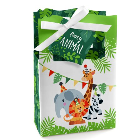 Jungle Party Animals - Safari Zoo Animal Birthday Party or Baby Shower Favor Boxes - Set of 12 - Jungle Animal Party Favors