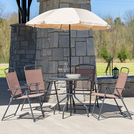 6 Piece Brown Patio Set with Table, Tan Umbrella and 4 Folding Chairs