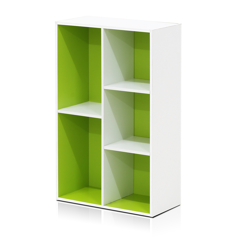 Furinno 11069 5 Cube Reversible Open Shelf White Green Walmart Com Walmart Com